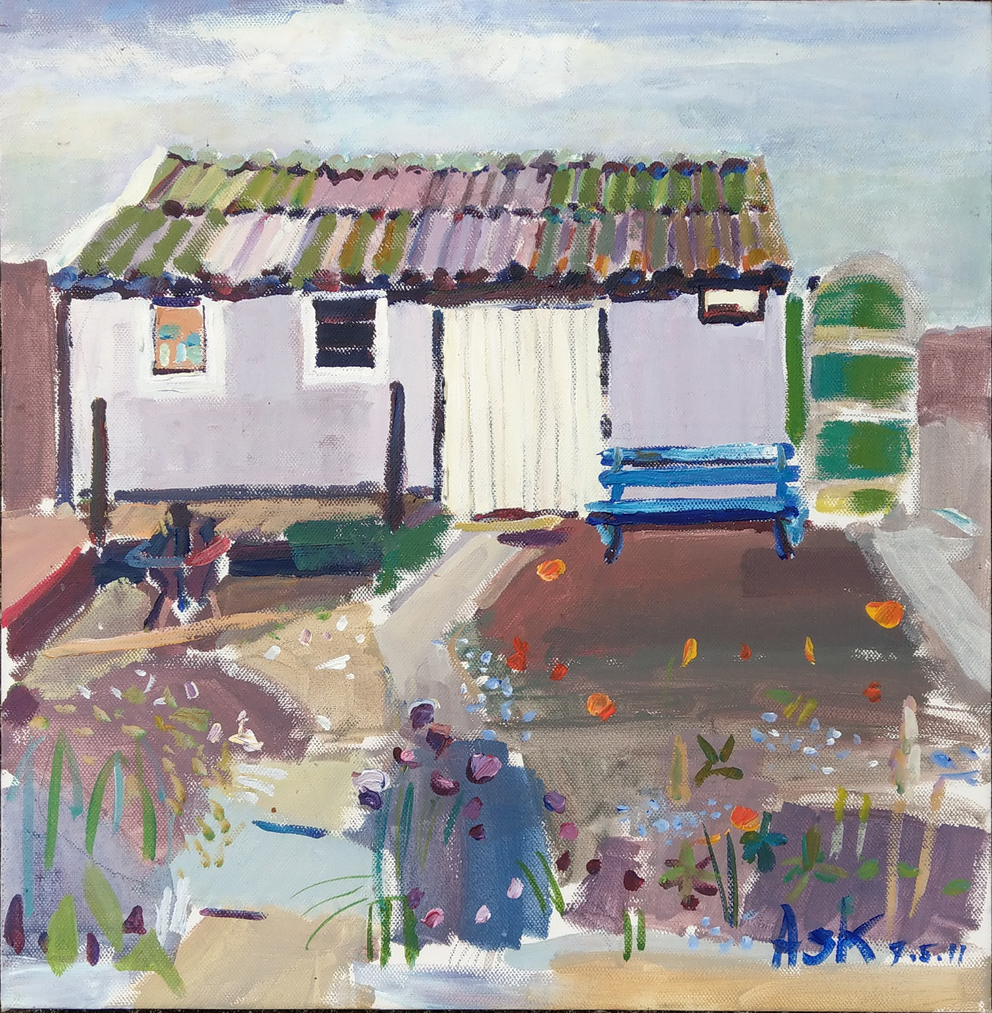"""Garden in Nottingham"" Oil on Canvass 410 x 410 mm May 2011 by Elaine Ask"