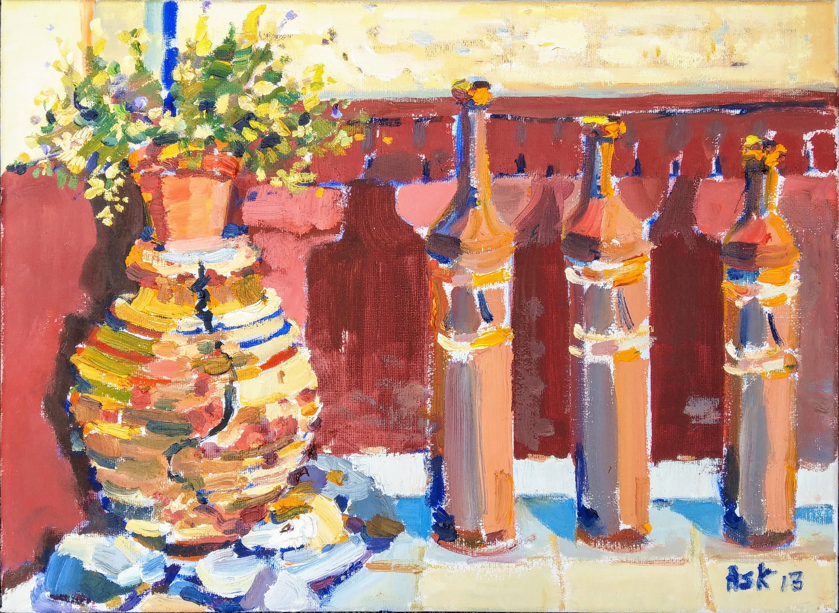 Greek Pottery on Elli's  Balcony Πήλινα στο Μπαλκόνι της Έλλης  Oil on Canvass 400 x 300 mm by Elaine Ask 2013