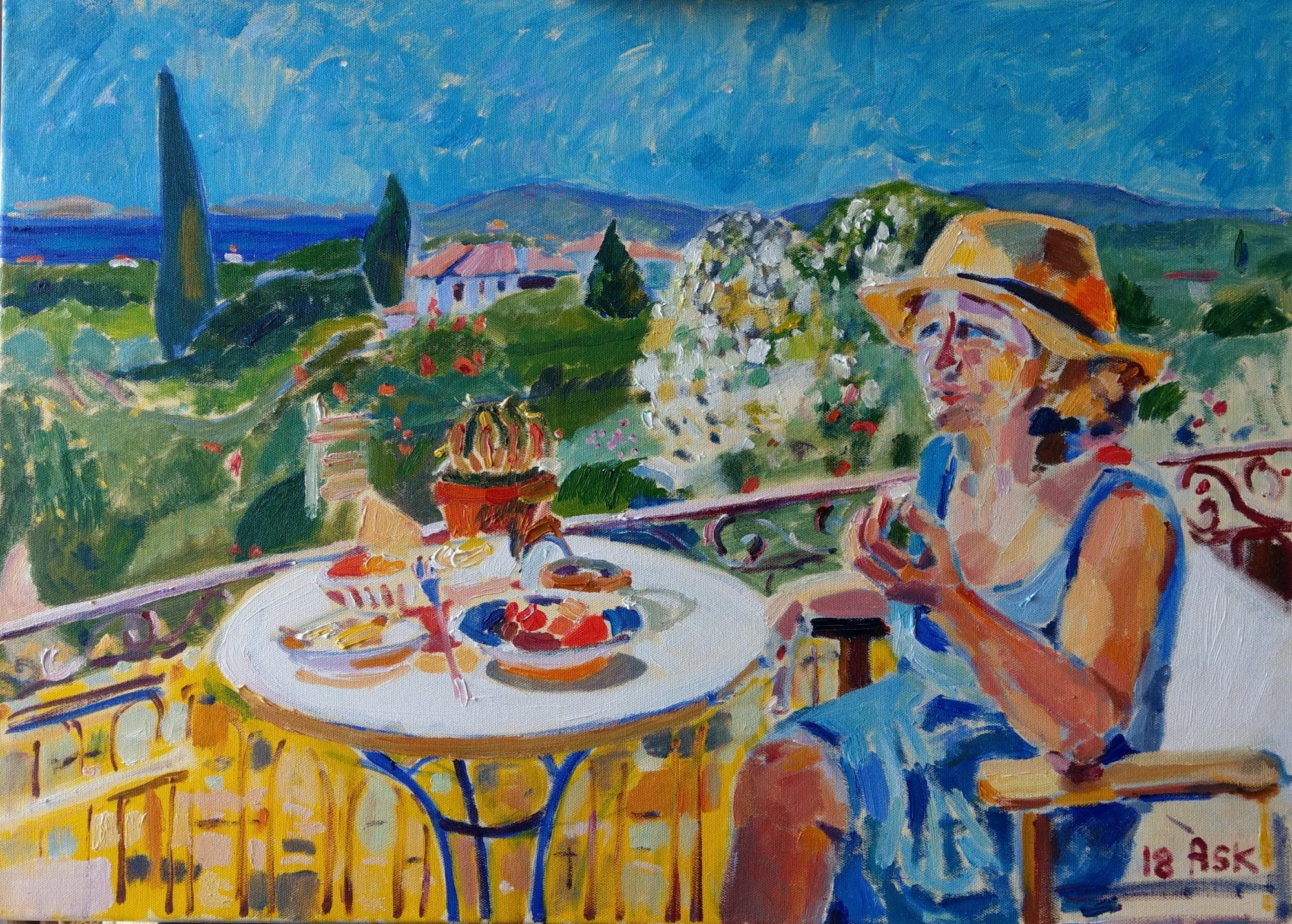 Painting by Ask Oil on Canvass 2018 Chios Elli having breakfast on her balcony  Approximately 800 x 600 mm