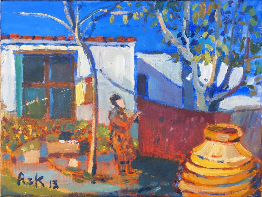 Η Μπουγάδα - Χίος  2013 The Washing Line - Chios, Greece  2013 Oil on Canvass by Elaine Ask 400 x 300 mm
