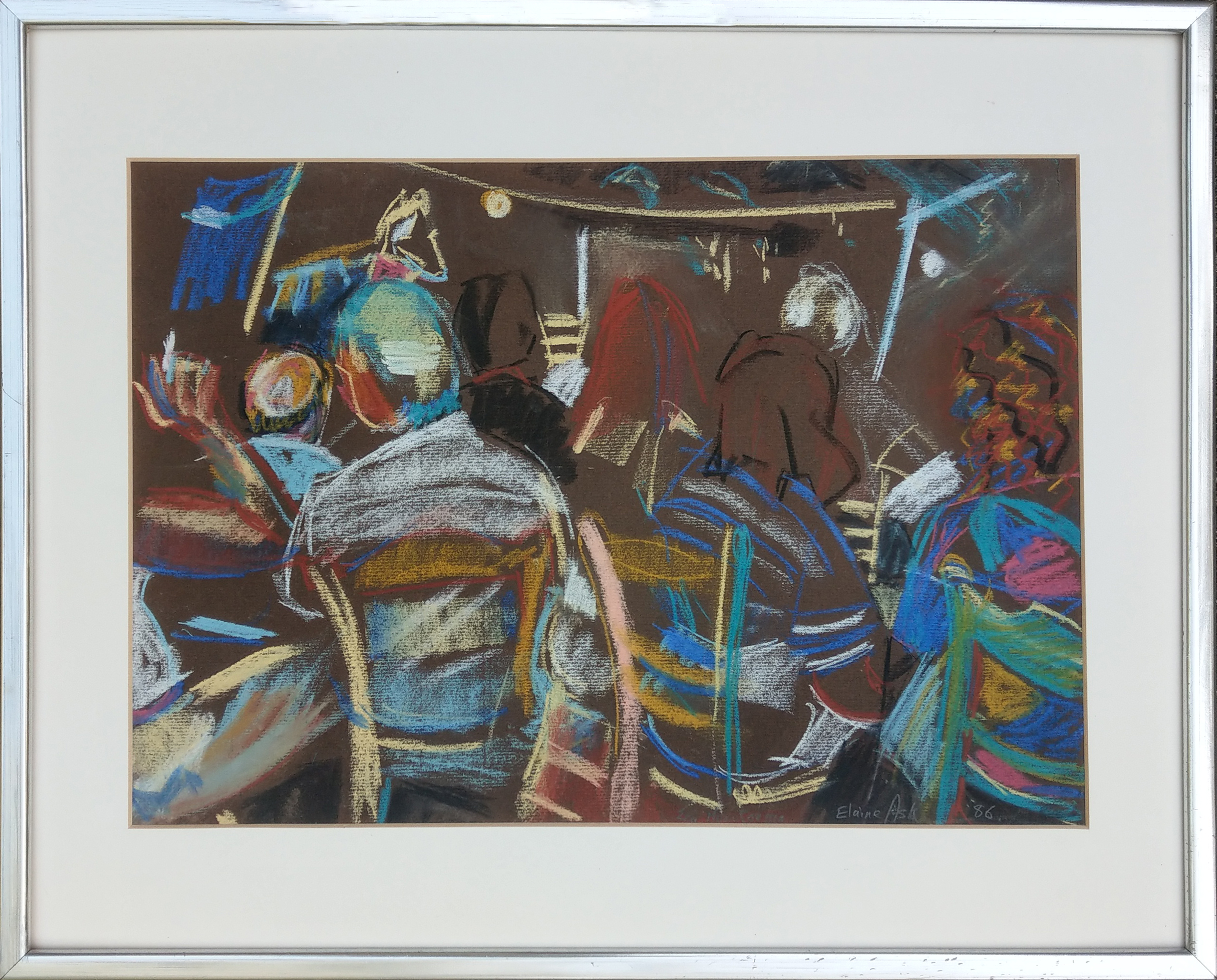 """Greek Taverna at Night""  ""Ελληνική ταβέρνα τη νύχτα"" Pastel Drawing by Elaine Ask 1986 410 x 290 mm unframed"