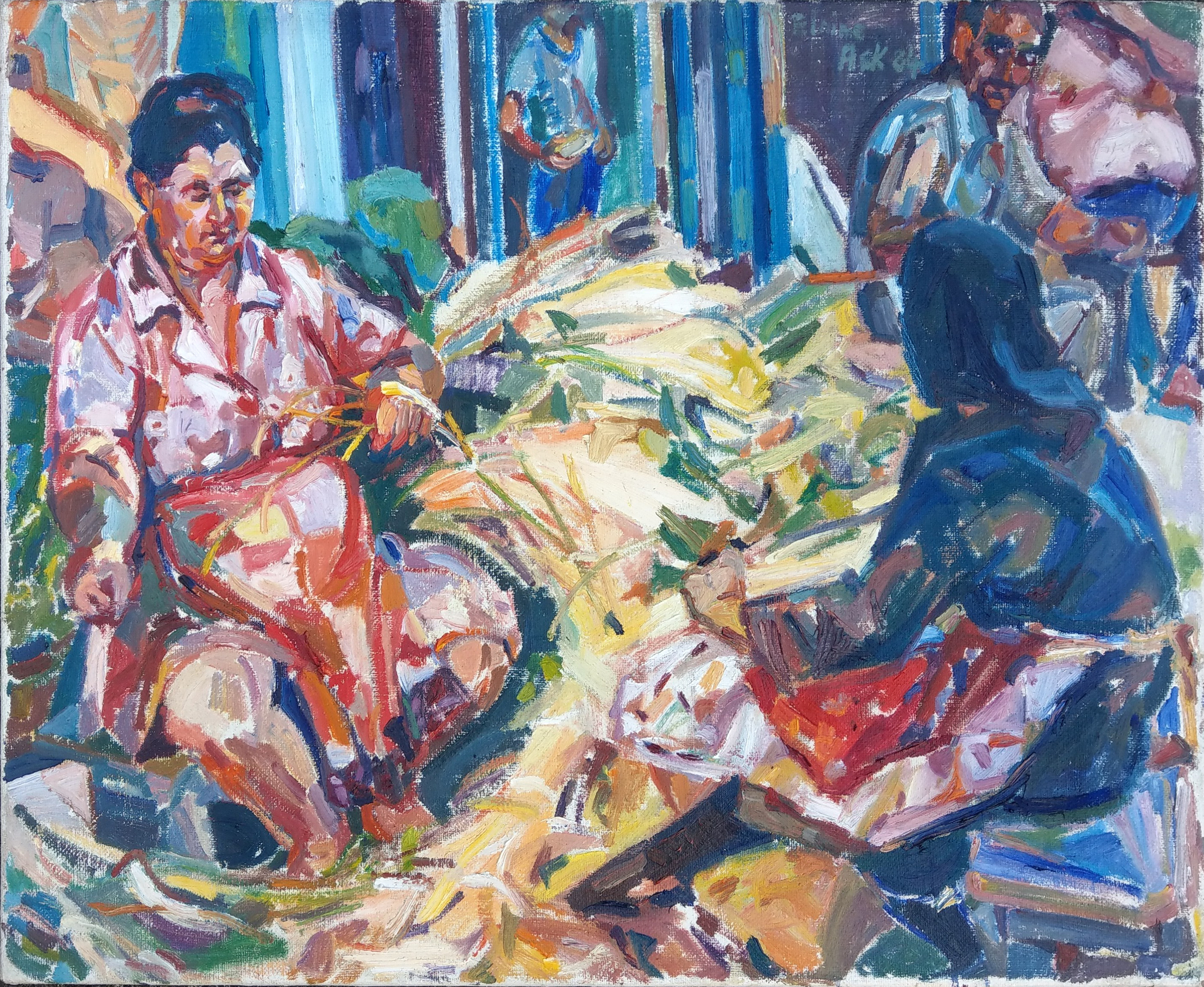 Greek villagers in Sarti, Halkidiki.  An oil painting by Elaine Ask  oil on Canvass 1984