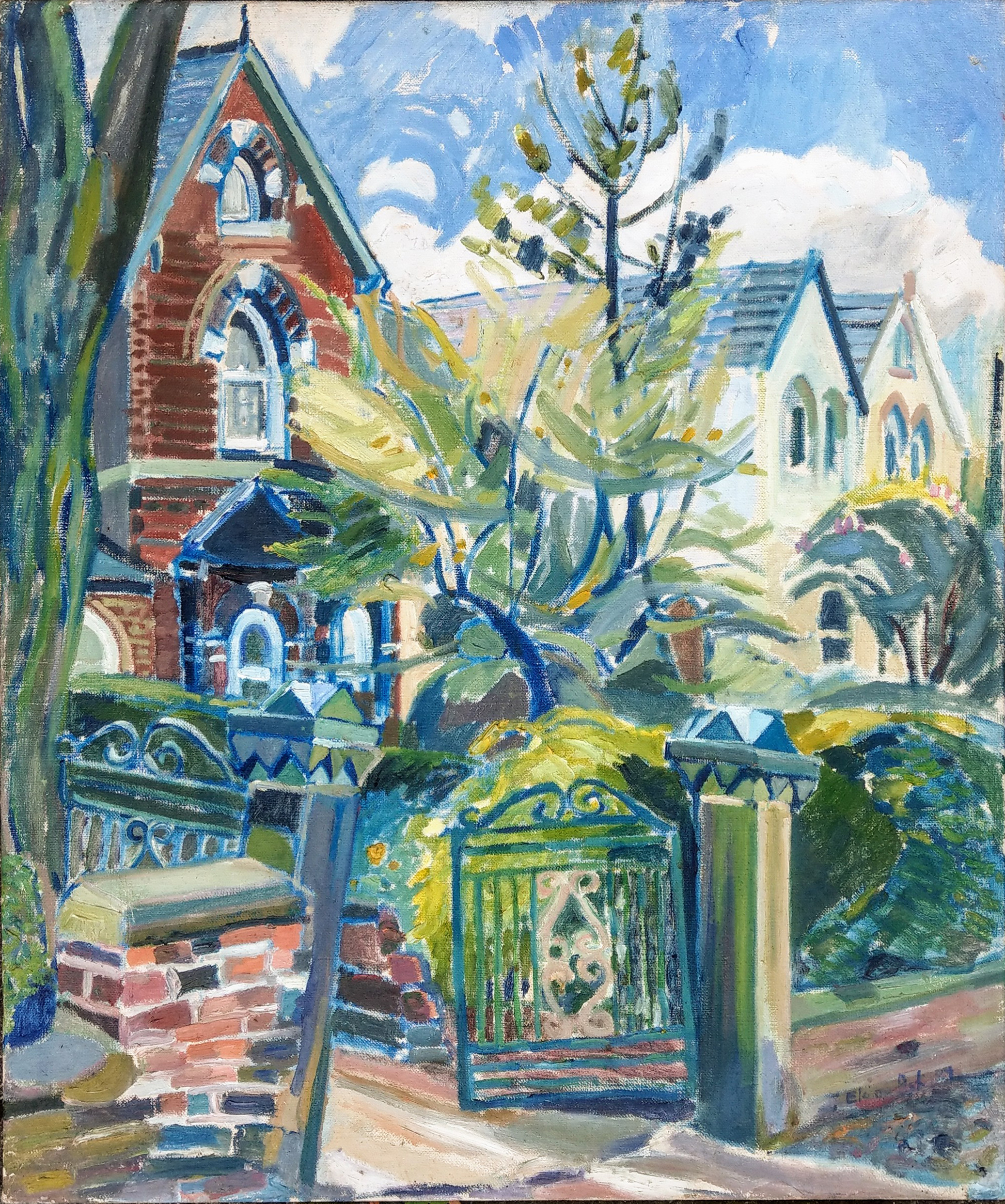 1989 oil painting by Elaine Ask.  House on Park Road, Dewsbury, West Yorkshire