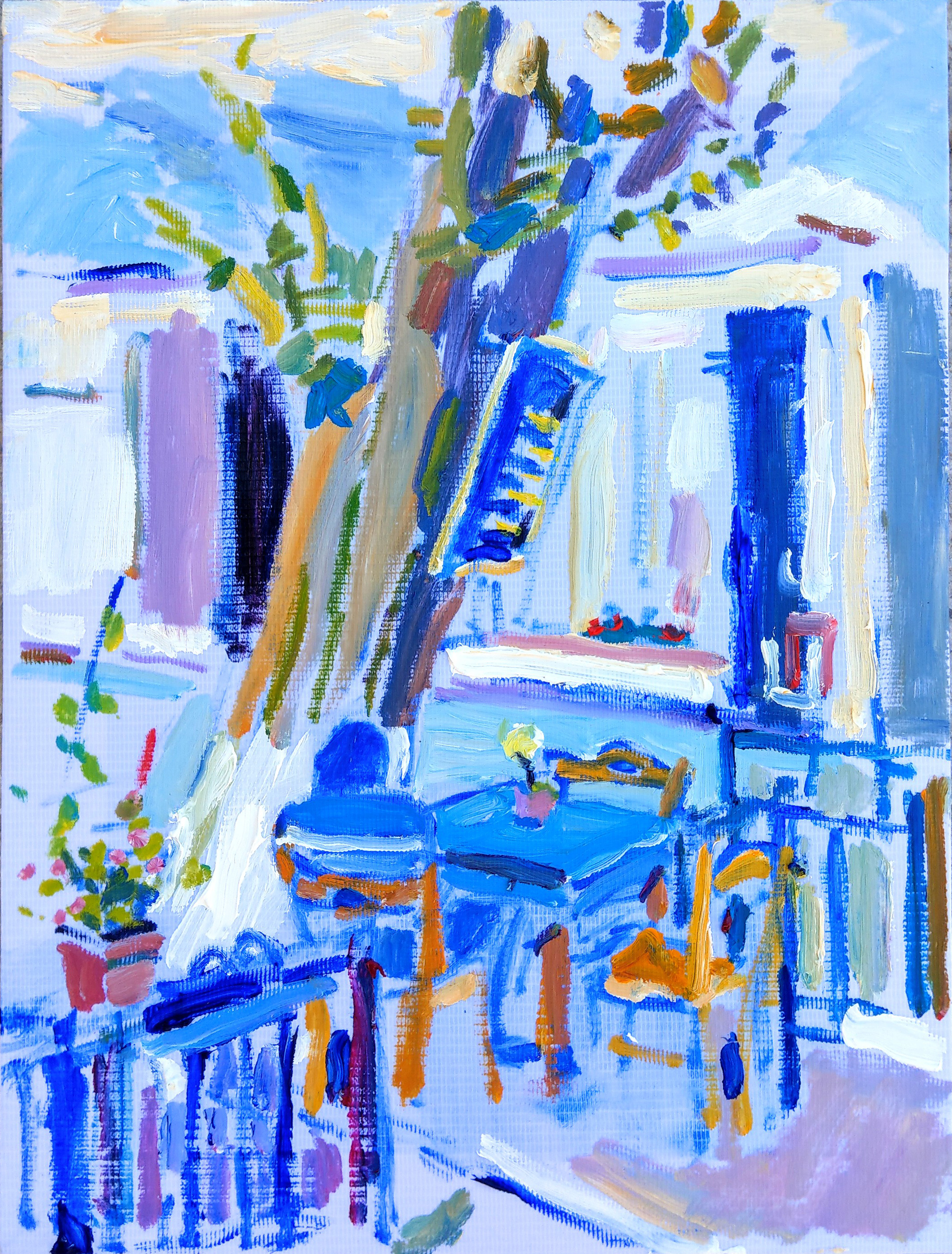 Painting by Ask Oil on Canvass Man Sitting Alone, Yellow on Blue. Καφενείο στο Καρλόβασι 300 x 400 mm 2018  Signed and dated since the photo was taken of course.
