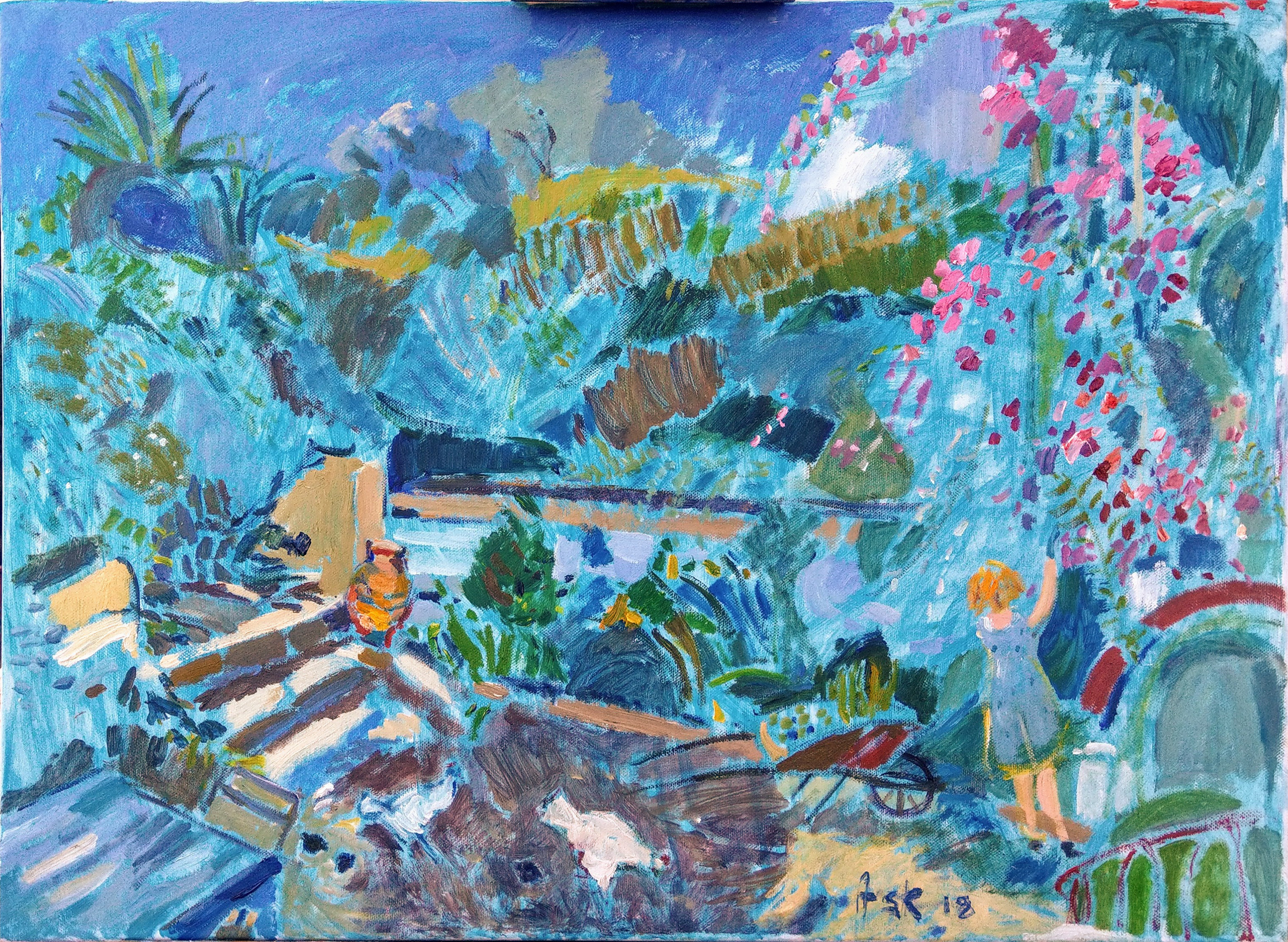 Elli watering her plants while the chickens cluck around. Oil on canvass by Ask, 700 x 500 mm
