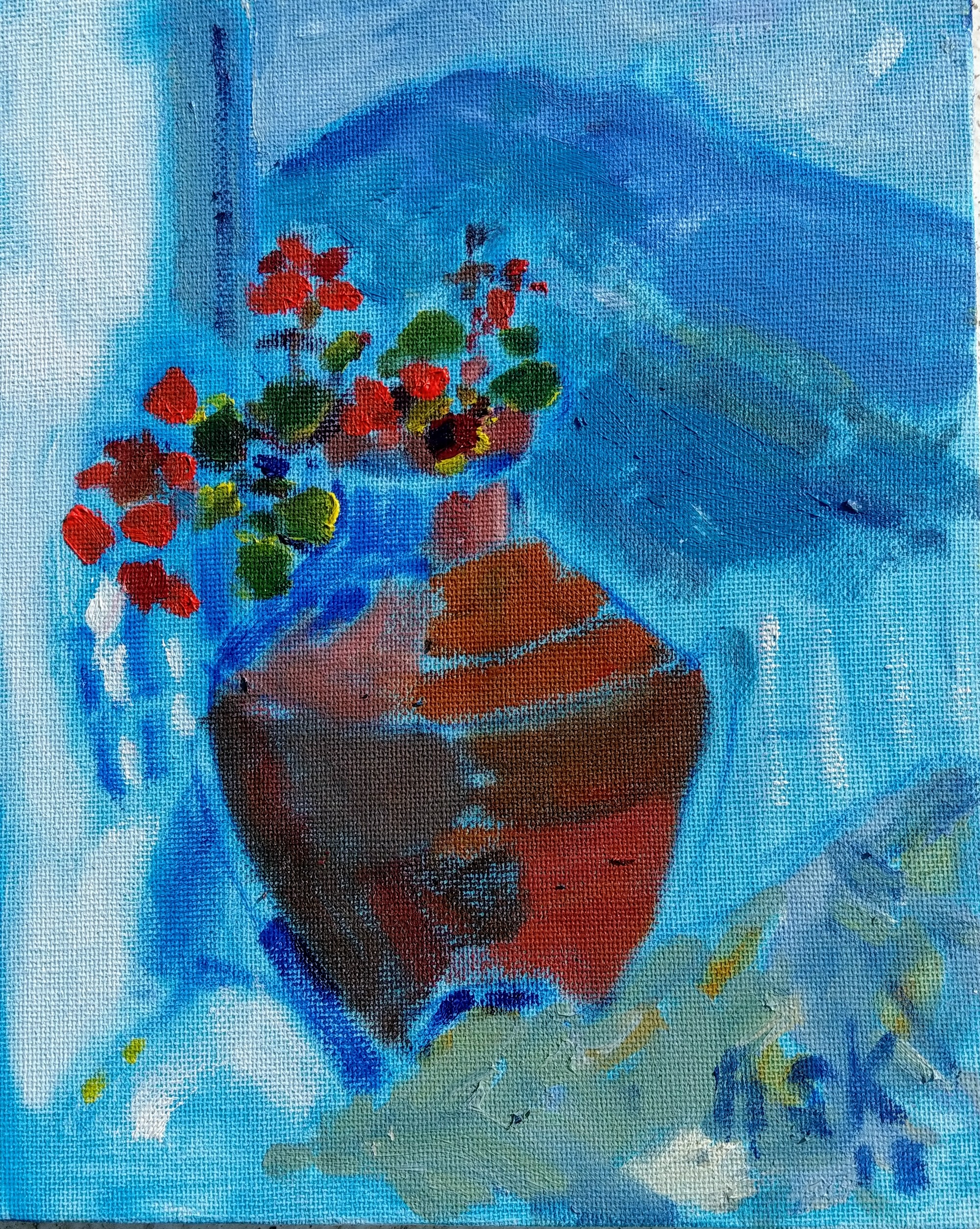 Very small oil painting by Ask  300 x 200 mm of geraniums in a terracota pot