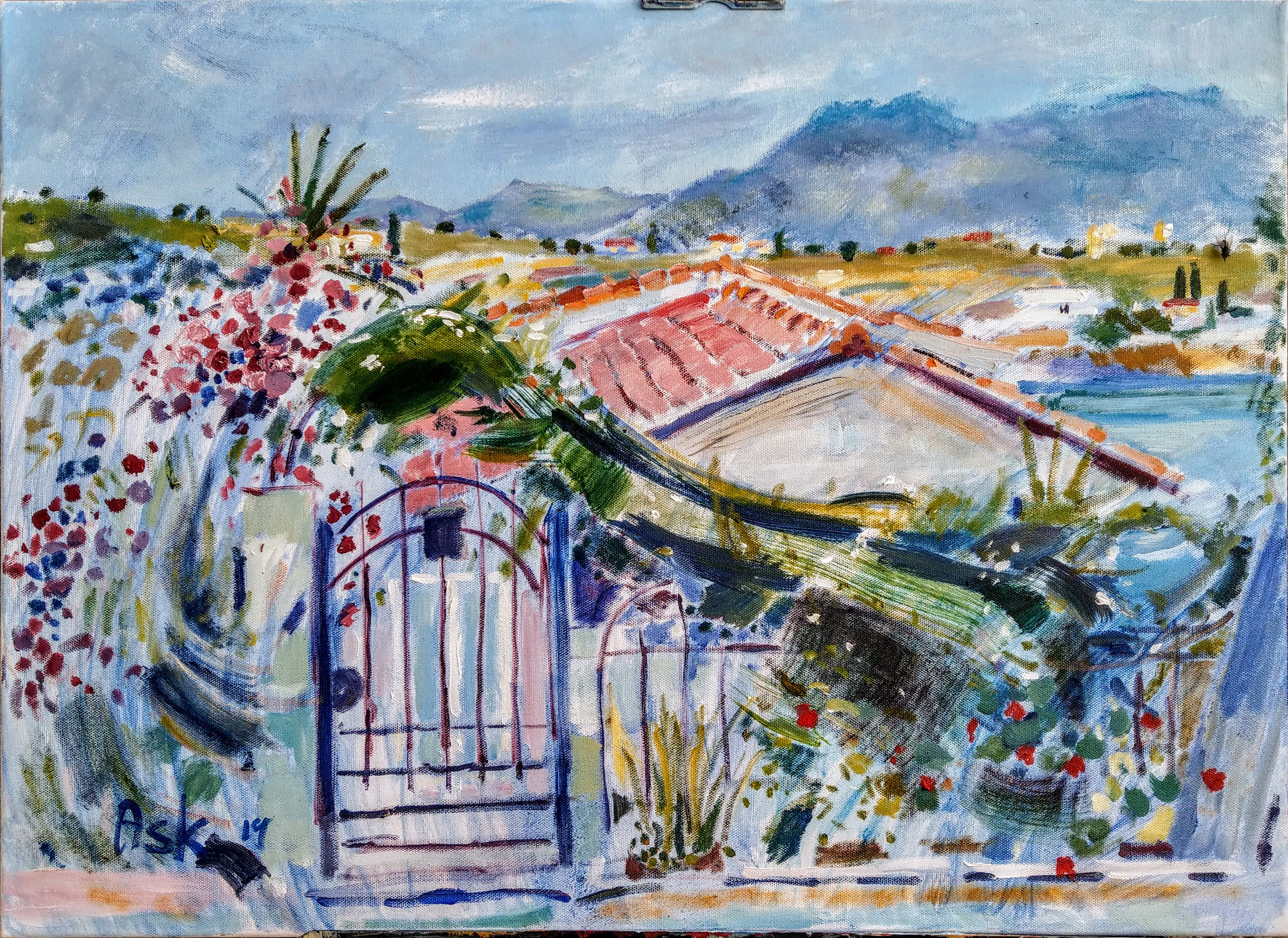 "Oil Painting on canvass by Ask of a little house with sweeping curves of foliage over a curved metal gate,  dotted with geraniums and bougainvillea 700 x 500 mm May 2019 ""Μονοκατοικία με Λουλούδια""  Αίγινα"