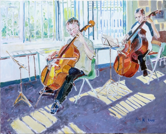 Young Cellist and Double Bass Player in a painting commissioned by their mother