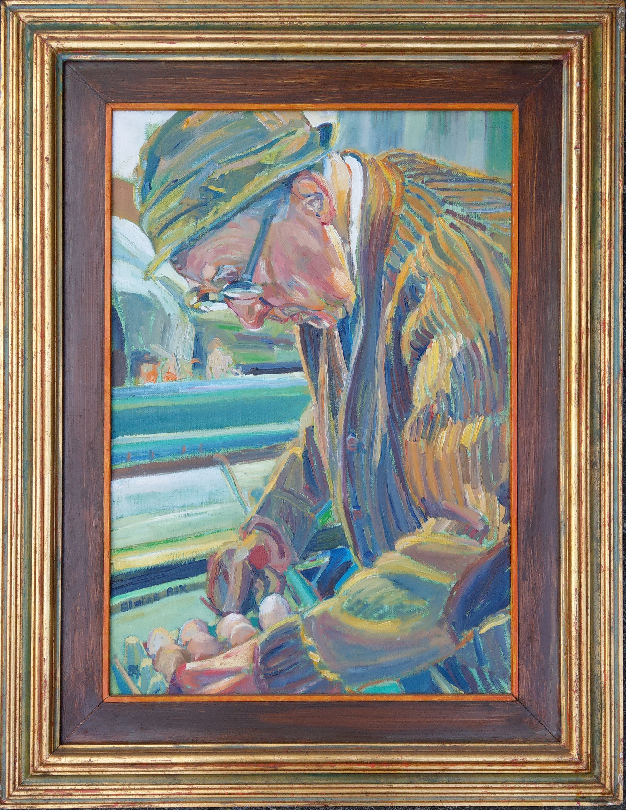 "Oil on canvass ""The Egg Man"" Signed Elaine Ask   1984 in a frame and made by the artist."