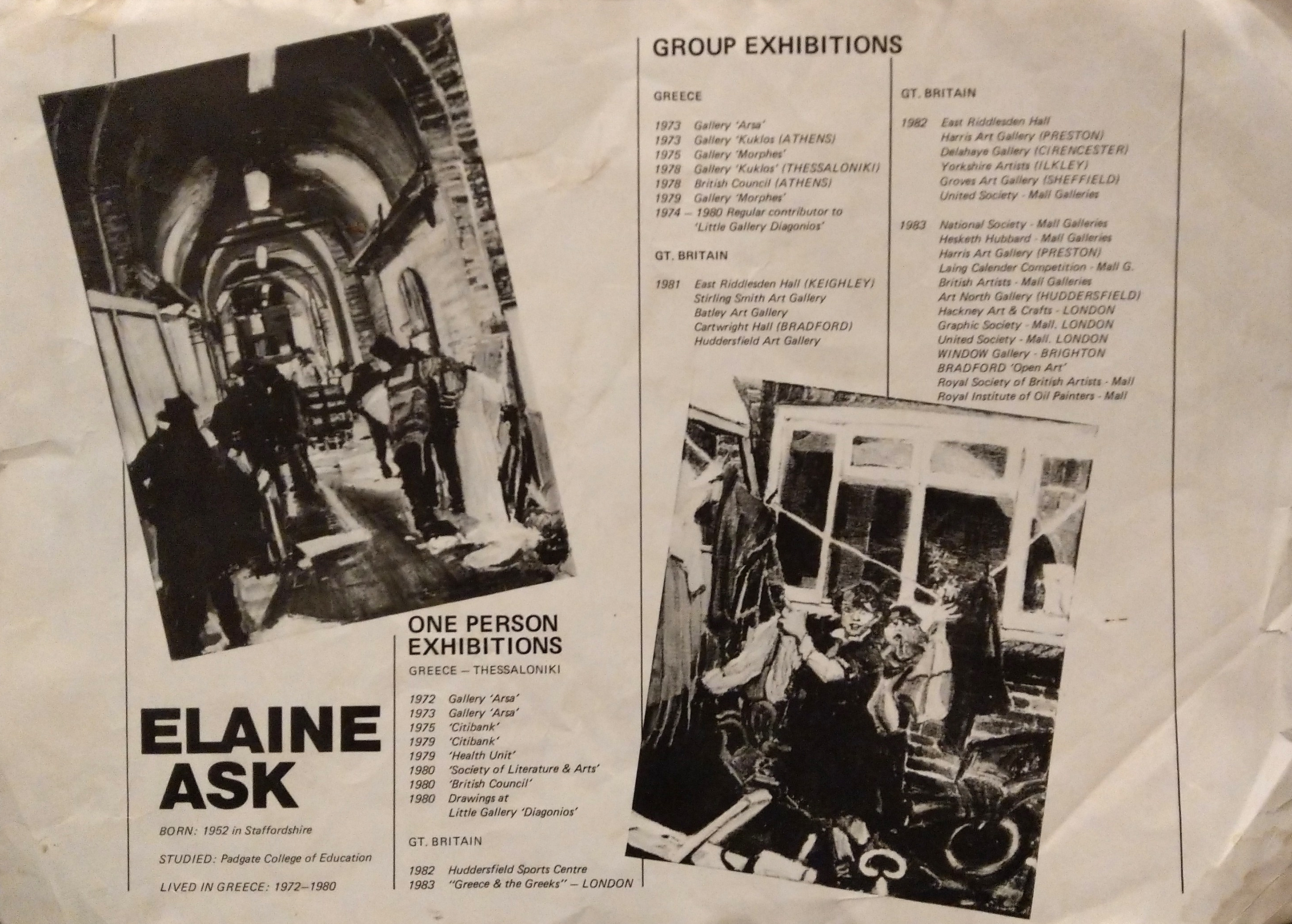 Elaine Ask Solo and Group Art Exhibitions 1972-1984