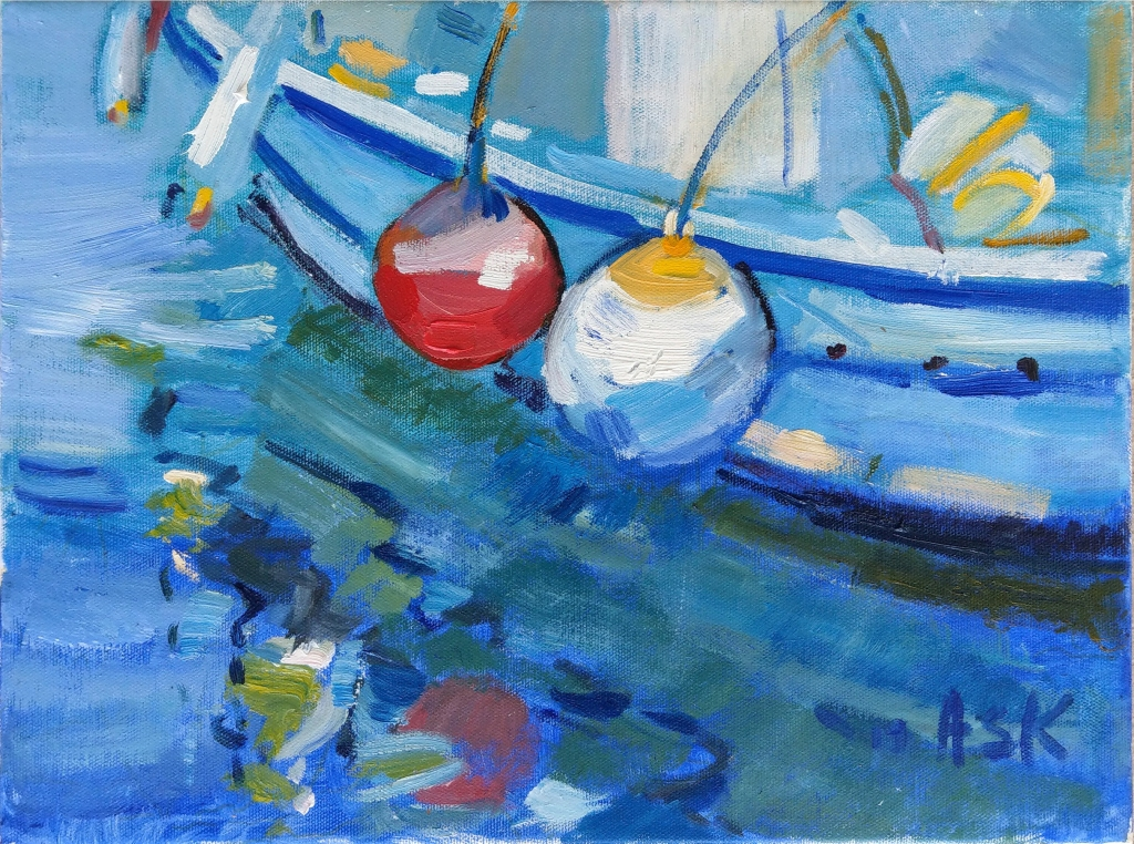 Little Greek Fishing Boat in Samos - by Elaine Ask 2019 300 x 400 mm Oil on Canvass