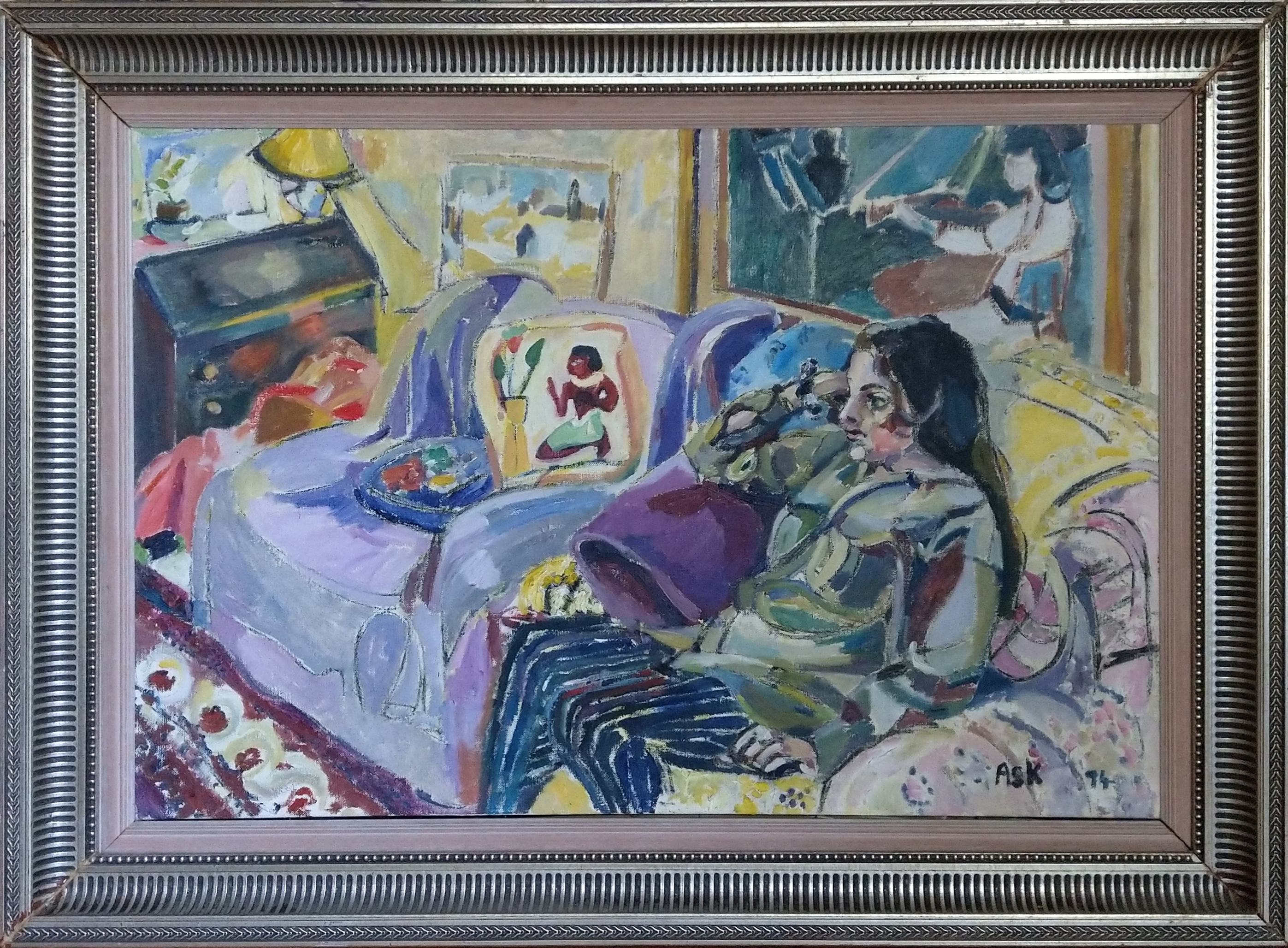 In this oil painting by Elaine Ask, Saskia sits in an armchair, staring at the TV, though you don't see the TV.