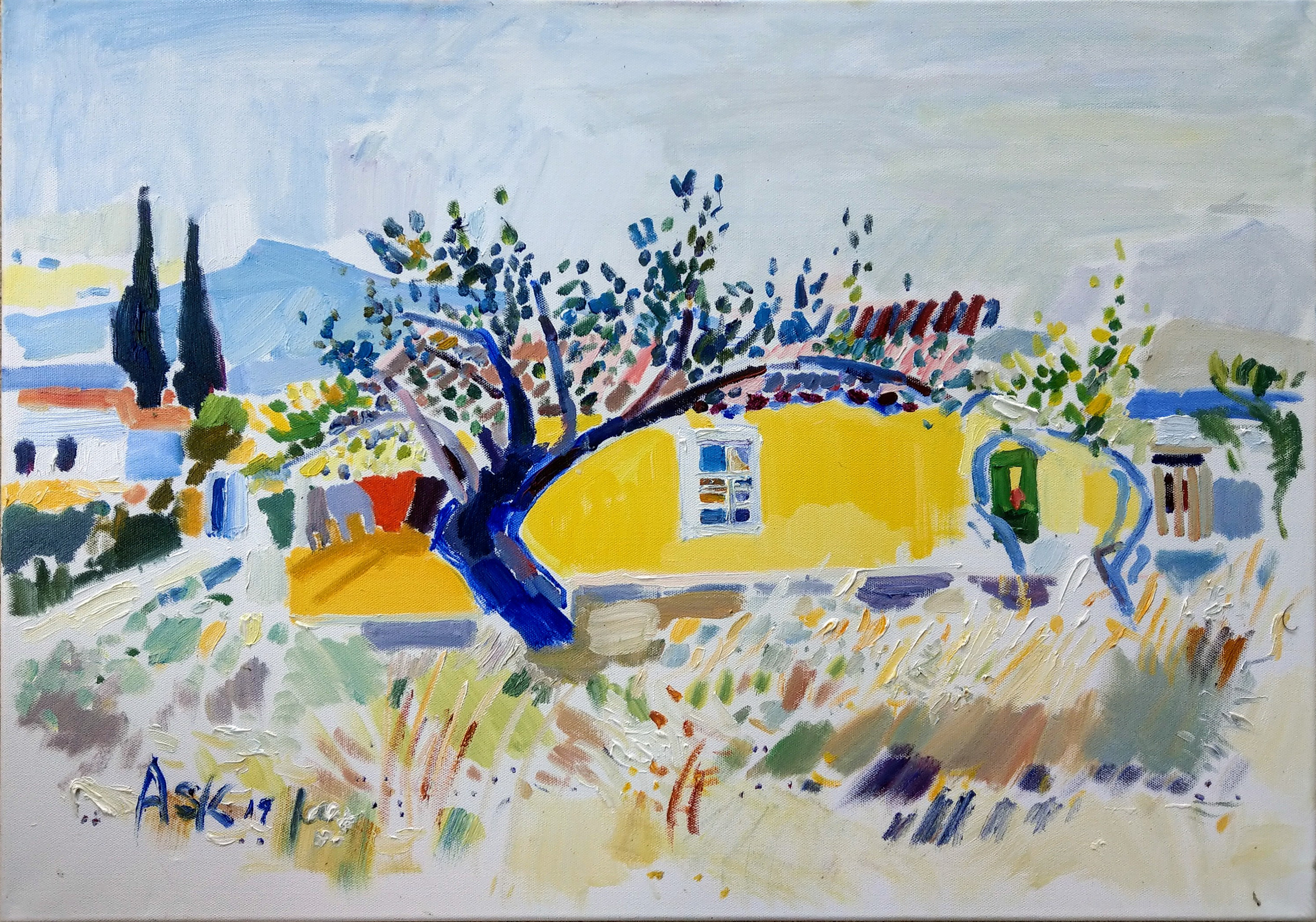 The Yellow House.  This oil painting is in a private collection., so not available for sale.  Painting by Ask , May 2019, in Aegina