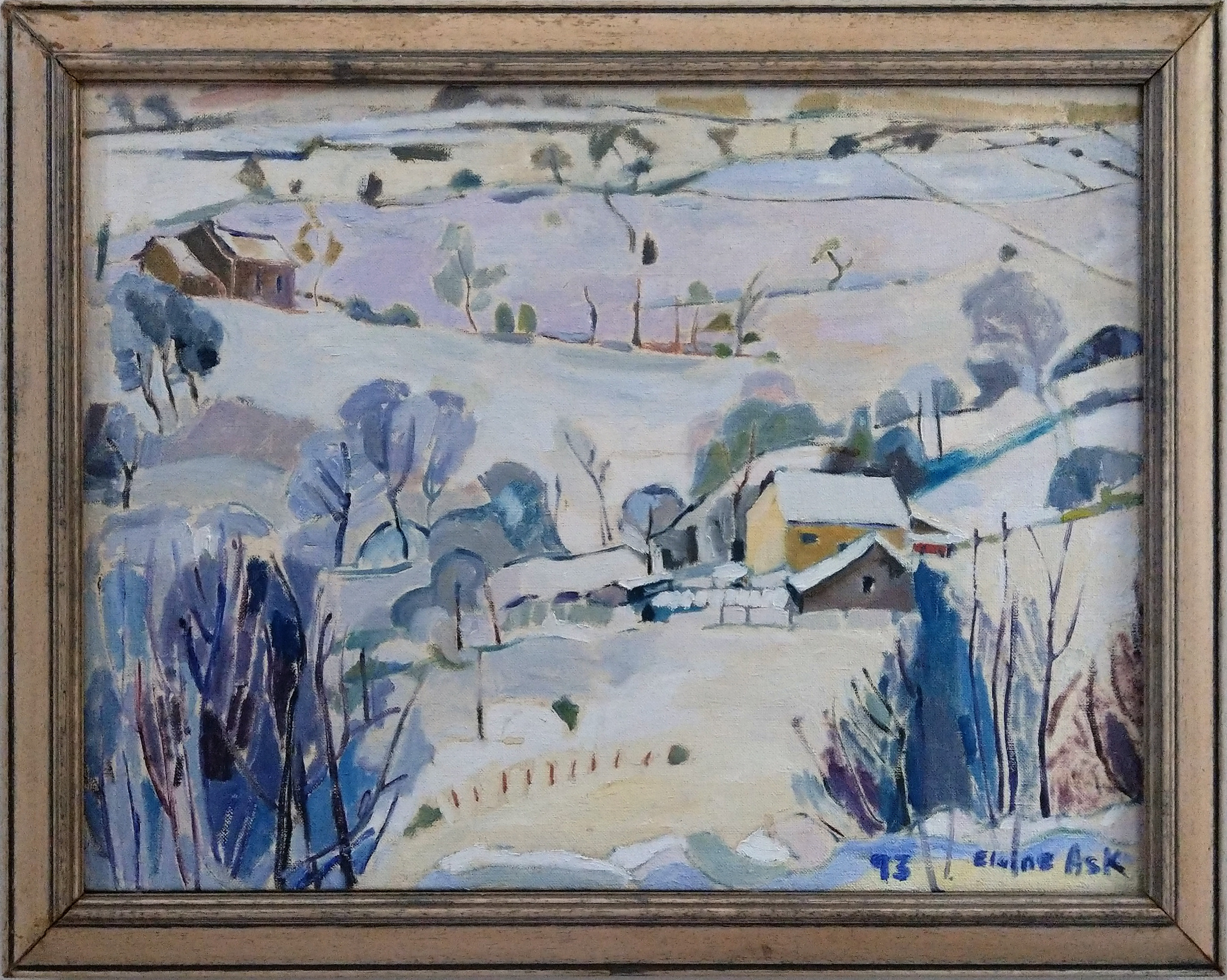 Framed Oil Painting of landscape in Hartshead in winter snow, by Elaine Ask. 1991