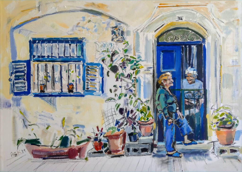 Oil painting by Ask of Maria chatting to her neighbour in Valletta, Malta.