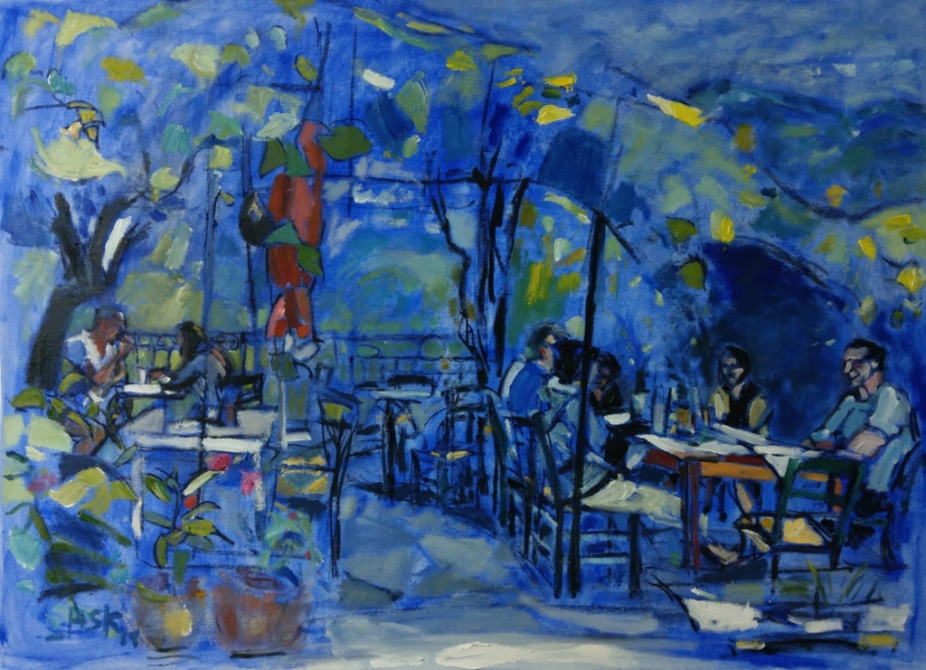 Oil on canvass by Ask. Restaurant in Manolates, Samos, Greece.