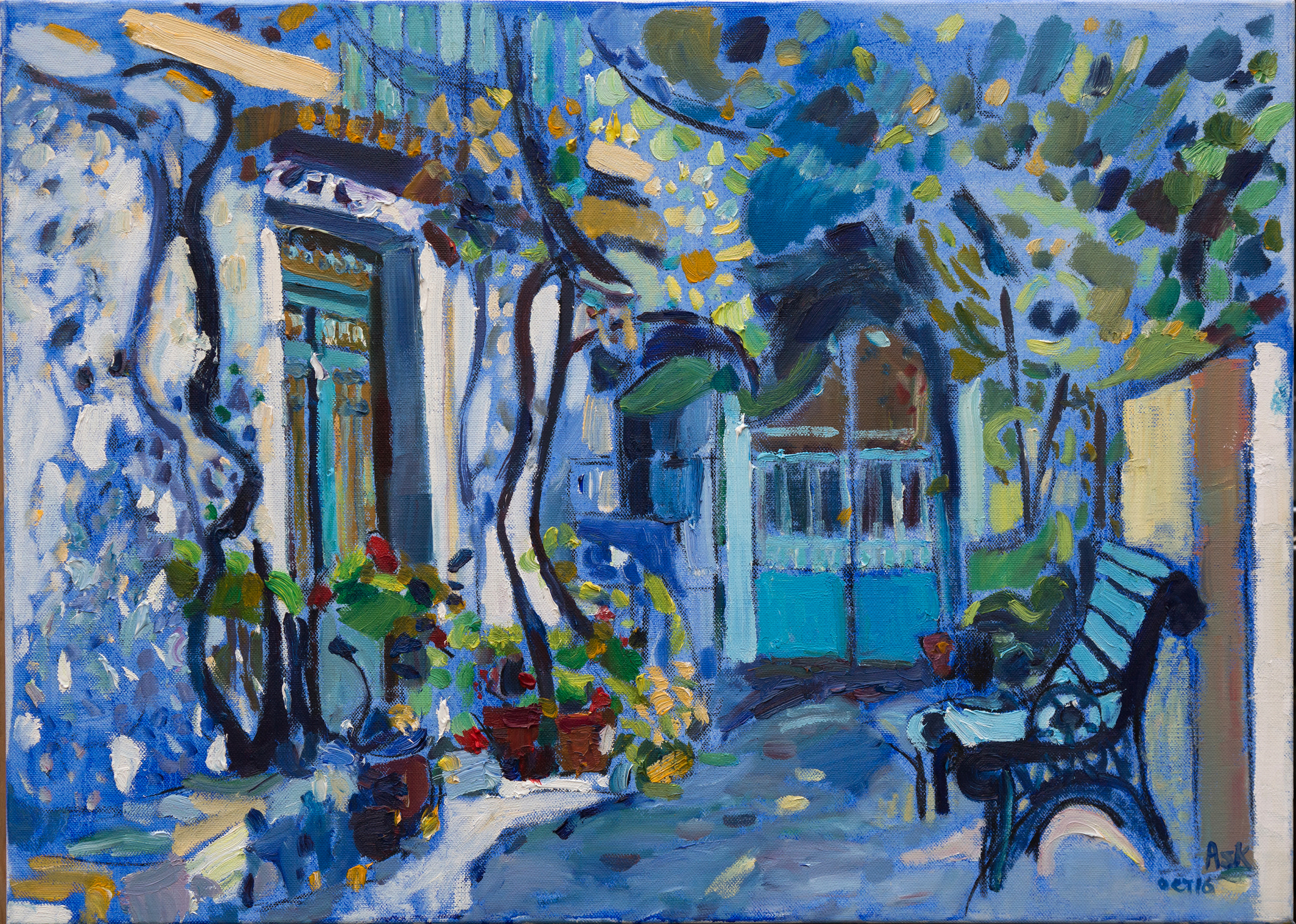 Oil painting in Crete by Elaine Ask artist