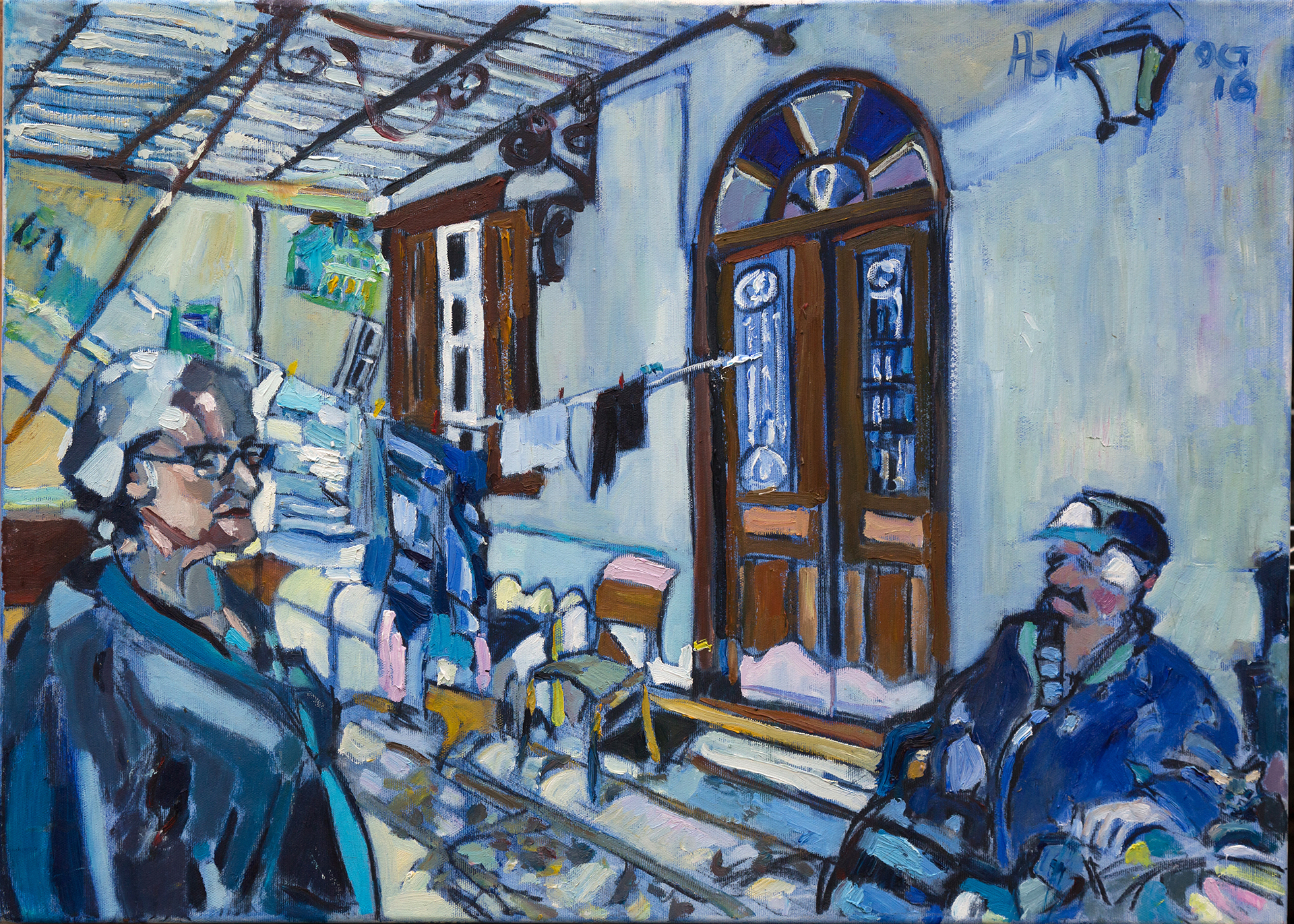 Oil painting in Chios by Elaine Ask artist