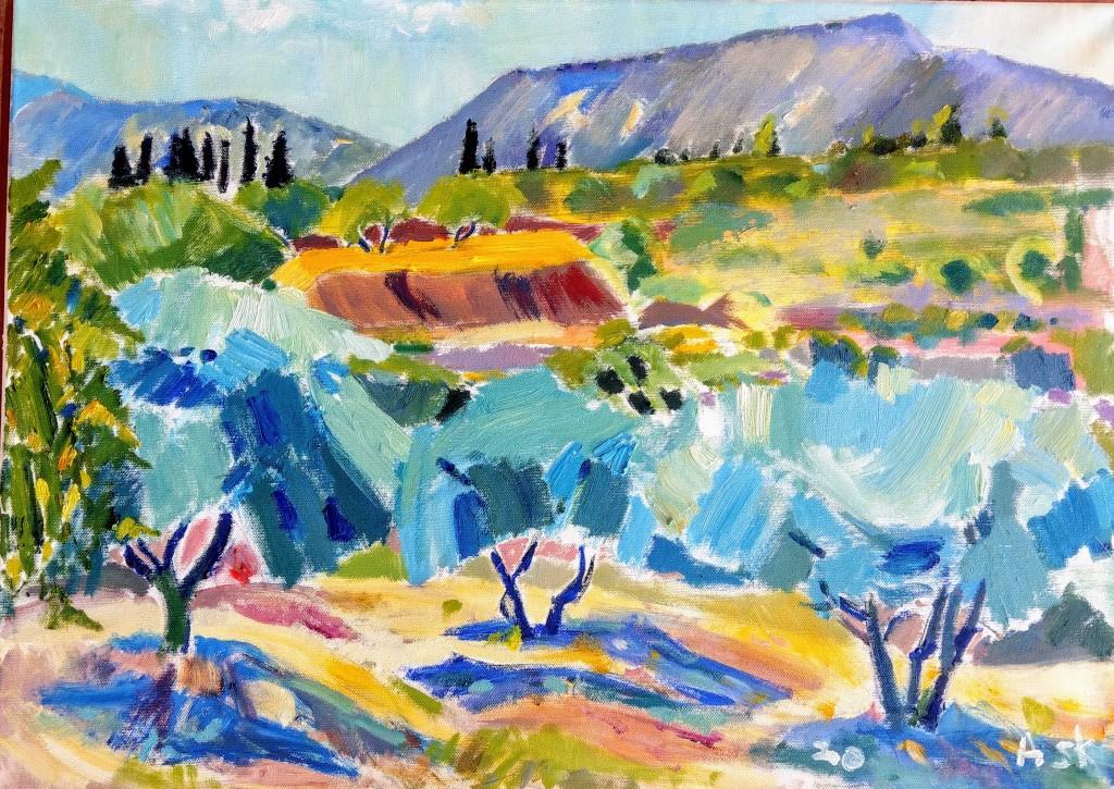 Greek, landscape, Villa Terracotta, oil painting, oil on canvas, by Elaine Ask, Ask,