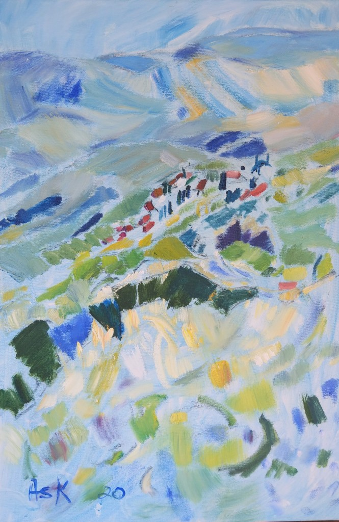 Greece, Arachova, eveing light, oil painting, Elaine Ask, by Ask artist